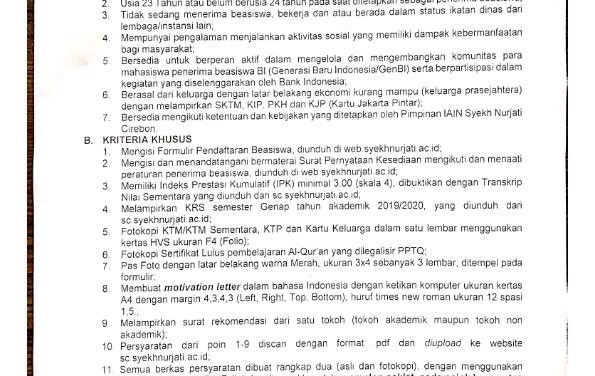 Pengumuman Beasiswa Bank Indonesia Tahun 2020