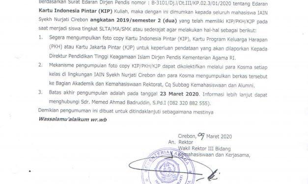 Pengumuman Pengumpulan KIP/PKH/KJP Mahasiswa Angkatan 2019 (Semester 2)