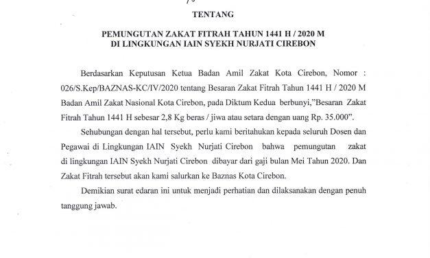 Surat Edaran Rektor,  Pemungutan Zakat Fitrah Tahun 1441 H_2020 M
